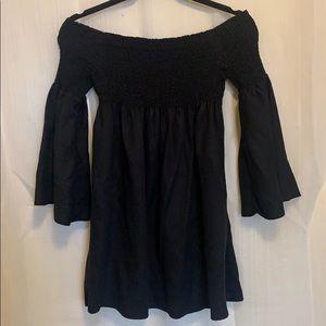Zara Off Shoulder Black Long Sleeve Mini Dress